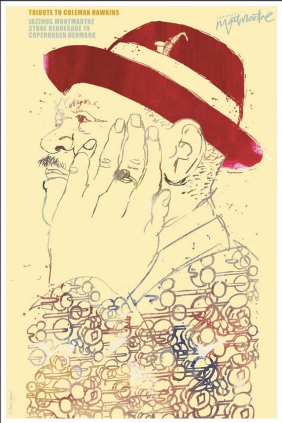 Plakat af Kim Nygaard Jazzhus Montmartre - Coleman Hawkins