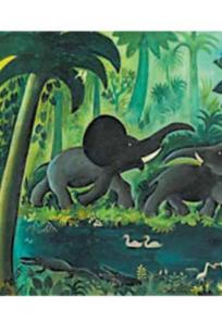 Hans Scherfig Stort junglebillede med elefanter